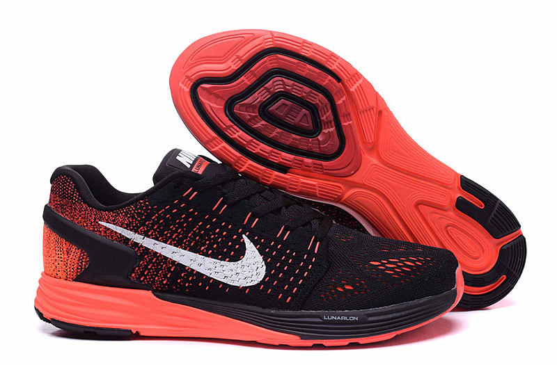 Men's Nike LunarGlide 7 Black/Bright Crimson/University Red/Summ