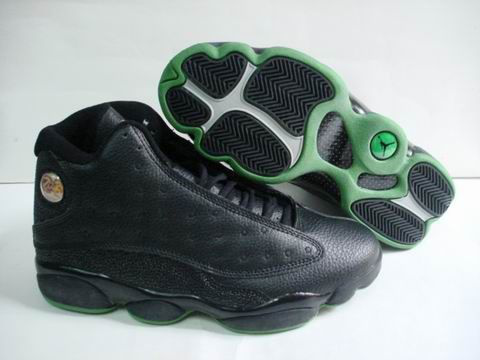 Air Jordan 13 Shoes black/white/green