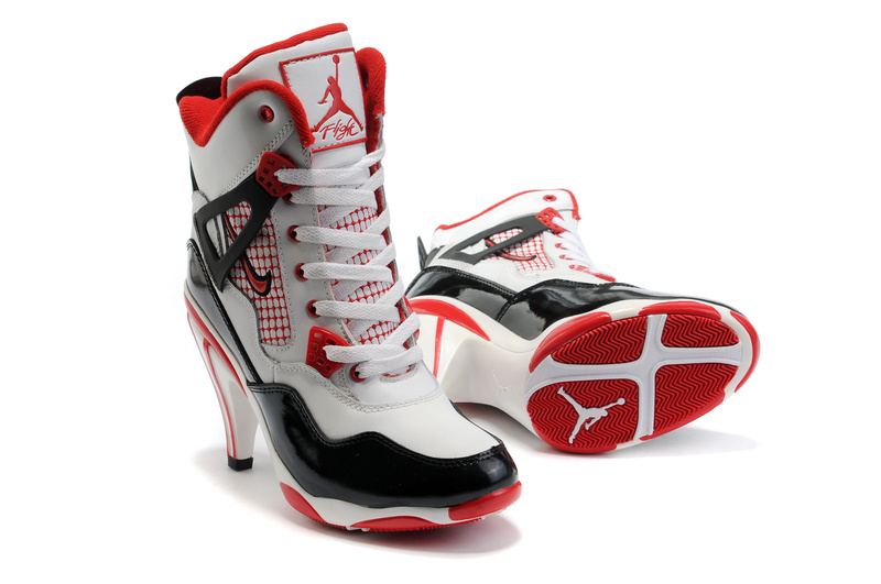 Jordan 4 High Heels Shoes black/red/white