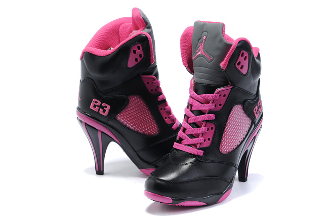 Jordan 5 High Heels Shoes black/deeppink