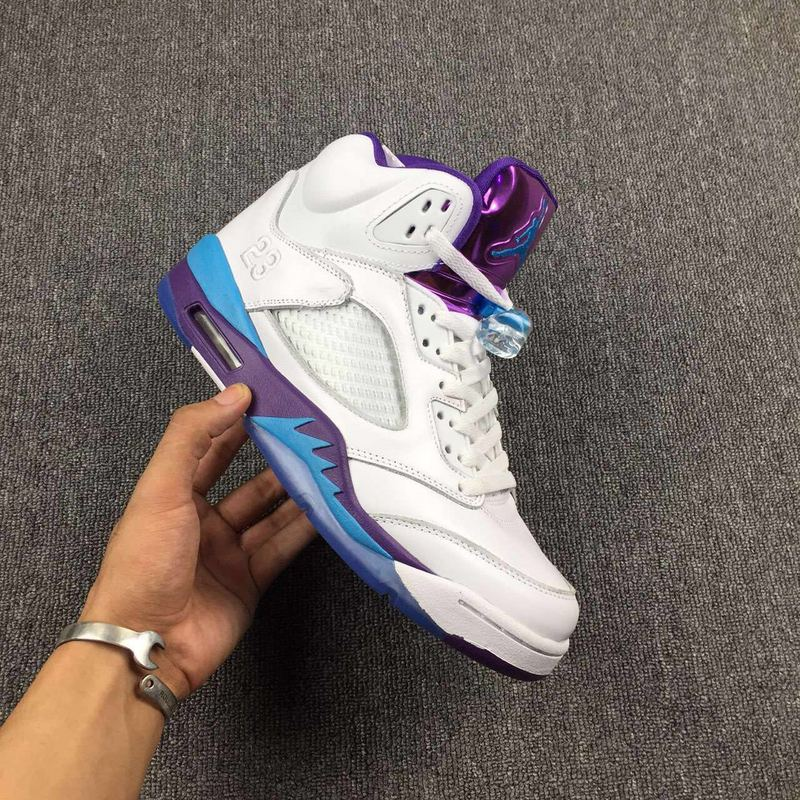 Air Jordan 5 Retro white/deepskyblue/darkviolet