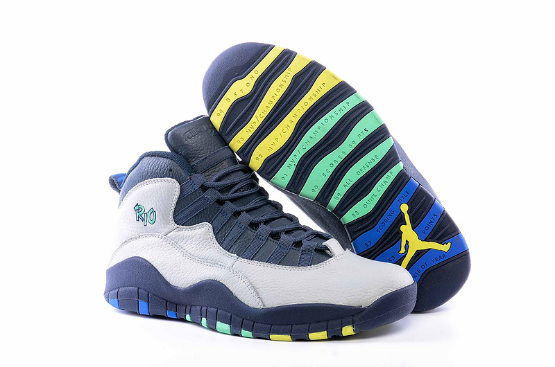Air Jordan 10 Retro White/darkslateblue/yellow