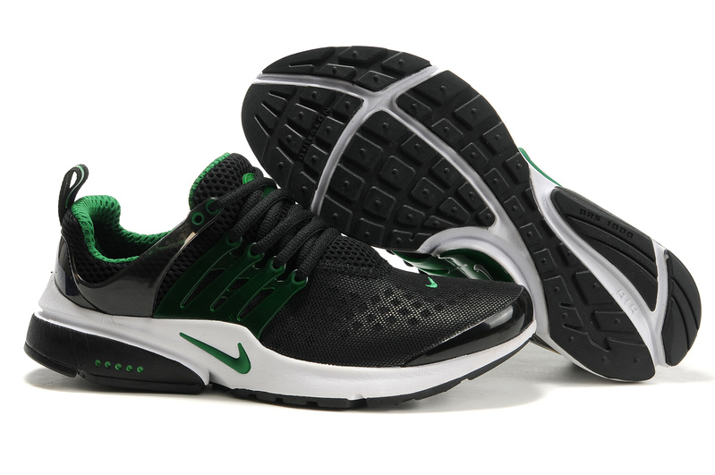 Nike Air Presto Running Shoes black/white/green