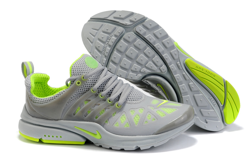 Nike Air Presto Running Shoes gray/lawngreen