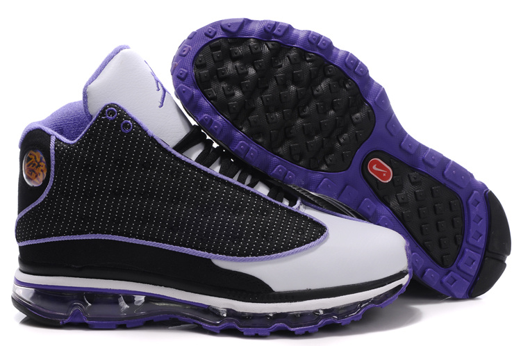 Womens Jordan 13 Air Max 2009 black/white/blueviolet