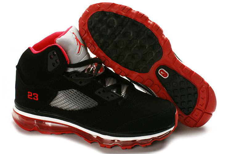 Jordan 5 Air Max Womens black/white/red II