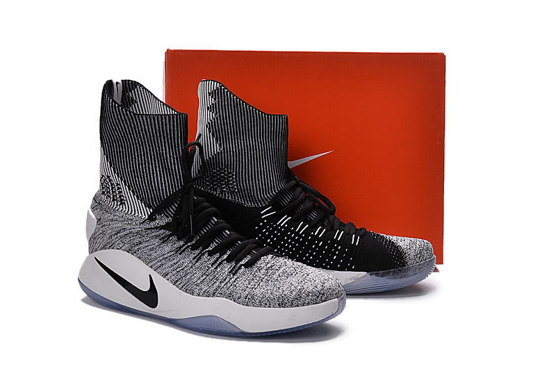 Nike Hyperdunk 2016 Flyknit Black/White - Click Image to Close