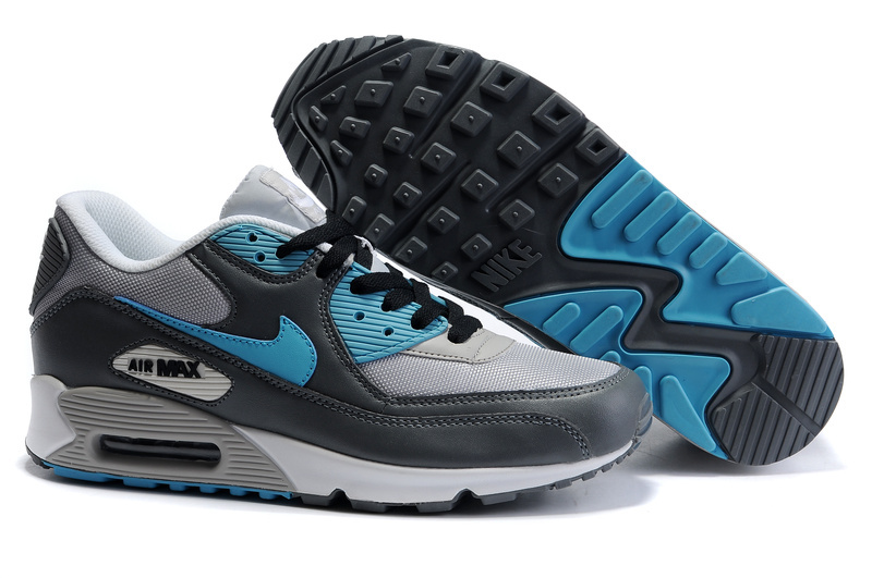 Womens Air Max 90 black/white/deepskyblue