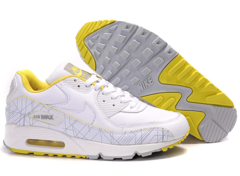 Womens Air Max 90 white/gray/yellow