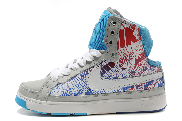 Nike Air Troupe Mid Shoes gray/deepskyblue/camo