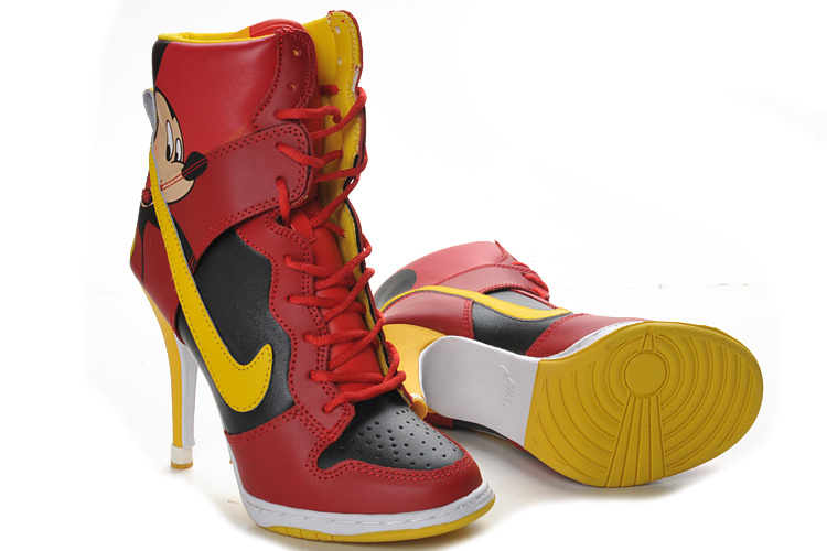Nike Dunk High Heels black/red/gold
