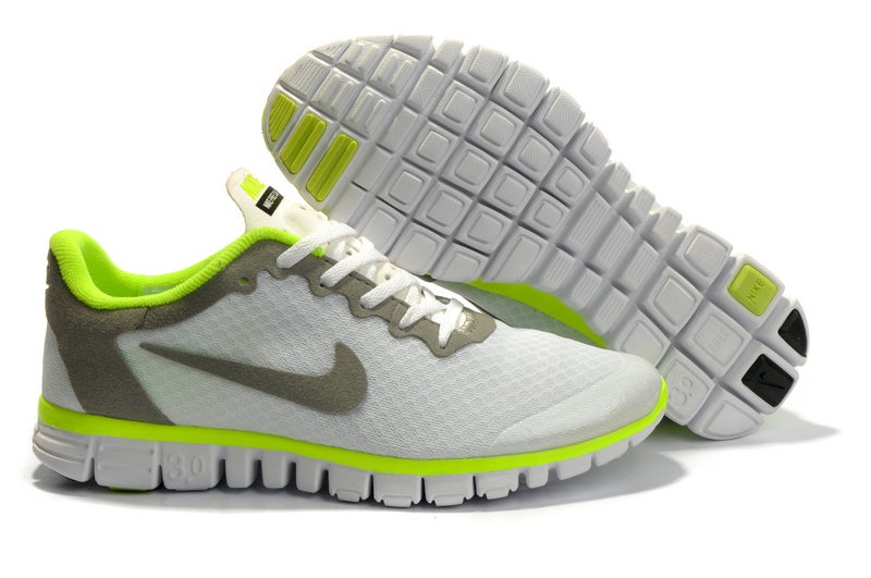 Nike Free 3.0 V2 Shoes white/lawngreen/darkolivegreen