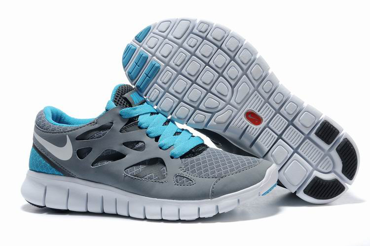 Free Run 2 Shoes white/gray/deepskyblue