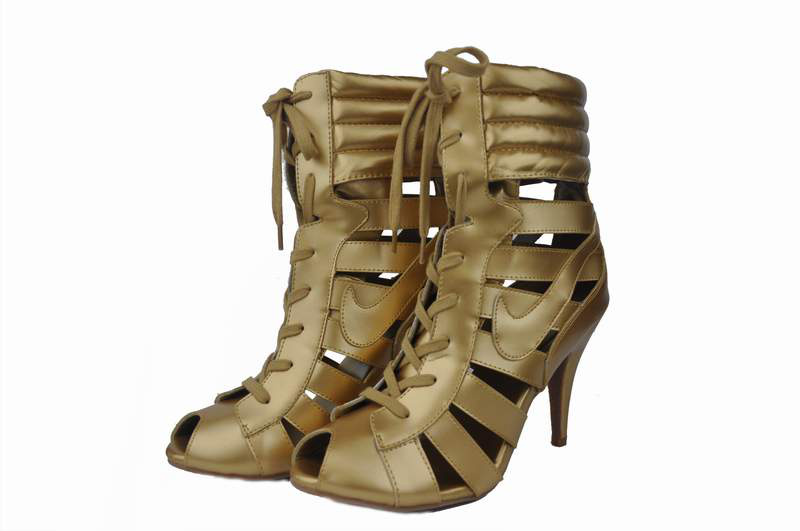 Nike High Heels Gladiator Sandals Golden