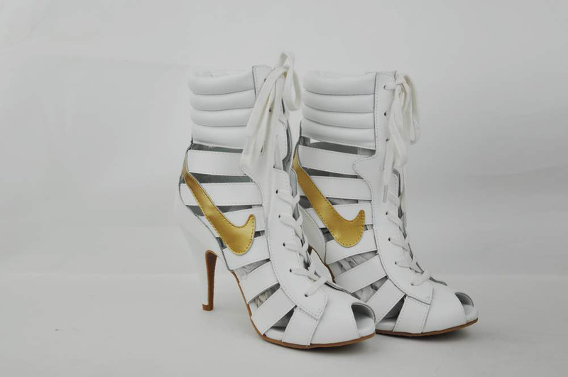 Nike High Heels Gladiator Sandals white/golden