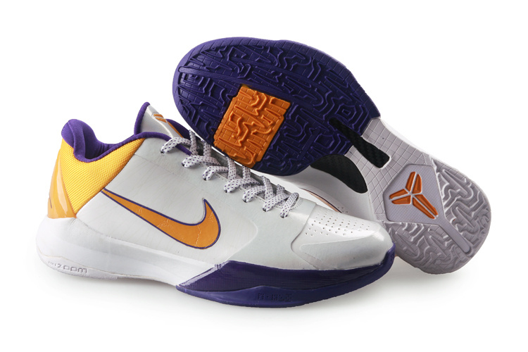 Nike Kobe V Shoes white/deep purple/gold