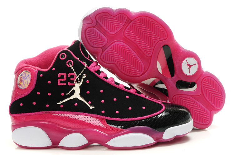 Air Jordan 13 Women Shoes black/deeppink