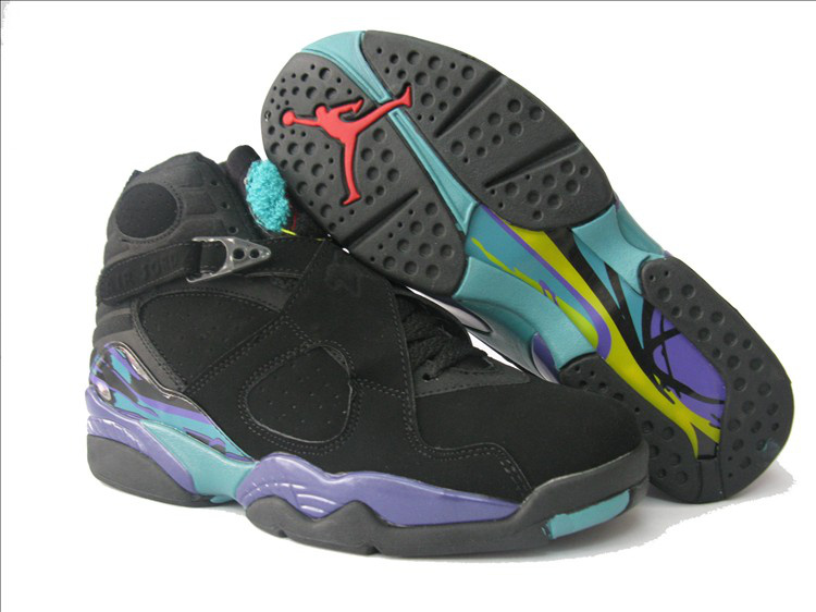 Womens Air Jordan 8 Retro black/deepskyblue/lightslateblue